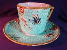 Antique-WARDLE-MAJOLICA-Lg-CUP-SAUCER-w-BUTTERFLY