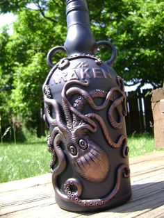 Custom Kraken Rum Bottle With Octopus / Squid Relief Sculpture