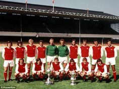Champions: Marinello (front row, second left) after Arsenal won the double in the 1970/71 season