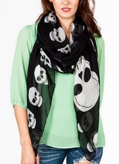 skull print scarf. I would definitely wear my hair up with a scarf like this!