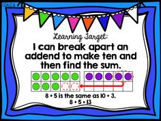 learning target poster   Make a ten to add, Making a ten to add - First 1st grade Ready Math unit 3 lesson 15