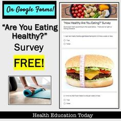I've been working hard to get all my Health Units on Google Slides and Forms. This is a link to a FREE student survey on Google Forms.Teens love surveys, and this is a good one on eating healthy! 25 questions and fun photos. Improving healthy eating tips are also included at the end of the survey. Have a safe and successful school year.  Mrs. S. Health And Physical Education, Education Today, Health Lesson Plans, Health Lessons, Teacher Freebies, Teacher Tips, Secondary Resources, Teaching Resources, High School Health