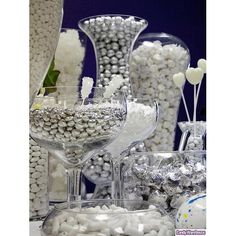 @Jessica Boston silver and white candy buffet...with accent colors?