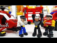 Prison Break~! Catch The Bad Guy Tonka Town Prison Fire Station Air Rescue Station - YouTube