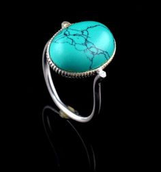 TURQUOISE NATURAL GEMSTONE MENS HANDMADE RING SIZE 8.5 US 925 STERLING SILVER #Unbranded