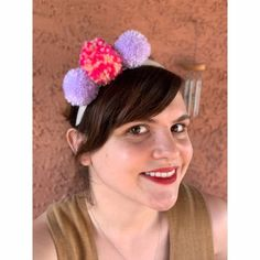 Willow Pom Pom Headband   Etsy Pom Pom Headband, Pom Poms, Danielle May, Blush Pink, Lilac, Cactus Stickers, Sparkle, Neon, Handmade