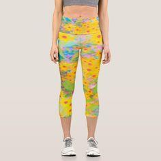 Aqua Blue, Yellow, Yoga Mom, Colorful Garden, Yoga Wear, Capri Leggings, Look Cool, Red Flowers, Things That Bounce