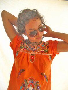 Beautiful handmade Mexican embroidered tunic mini dress M orange mantain the peace from Aida Coronado on Etsy / southwest