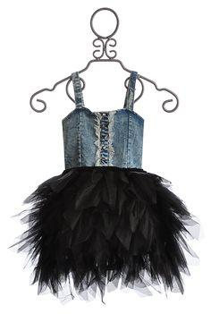 Ooh La La Couture Fancy Girls Dress in Denim. Posh in LaGrange, KY www.poshformals.com