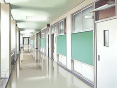 Anime scenery- school hallway: discovered by moodzsu Scenery Background, Living Room Background, Animation Background, Episode Interactive Backgrounds, Episode Backgrounds, Anime Hospital, Main Manga, Casa Anime, Anime Places