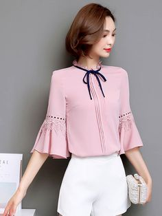Chiffon Fabala Lace Up Flare Sleeve Blouse Sleeves Designs For Dresses, Dress Neck Designs, Blouse Designs, Ladies Western Tops, Simple Frock Design, Sewing Blouses, Dress Sketches, Chiffon Shirt, Elegant Outfit