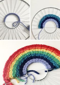 Craft tutorial: make a rainbow weaving - We Are Scout - Étapes de tissage arc-en-ciel - {hashtag} Weaving Loom Diy, Weaving Art, Tapestry Weaving, Yarn Crafts, Sewing Crafts, Circular Weaving, Rainbow Crafts, Loom Knitting, Free Knitting