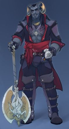 m Tiefling Ranger battle axe