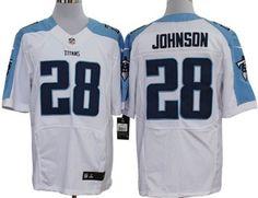 Nike Tennessee Titans #28 Chris Johnson White Elite Jersey