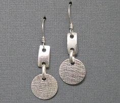 Sterling Disc and Link Dangle Earrings, Artisan Handmade Sterling Silver Earrings by Liz Blanchflower. $30.00, via Etsy.