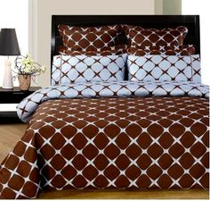 With Love Home Decor - RT™ Chocolate and brown 9 Piece Bed in a Bag. $225.00 Click www.withlovehomedecor.com/products/rt-chocolate-blue-bloomingdale-9pc-egyptian-cotton-bed-in-a-bag.html for full description.