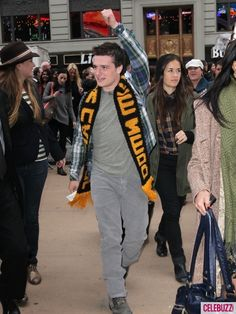 """Josh wearing some HG gear, a """"Down with the Capitol"""" scarf. Heck, yes, Josh."""