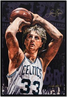 Larry Bird, Boston Celtics by Stephen Holland. Basketball Scoreboard, Basketball Art, Basketball Pictures, Basketball Legends, Basketball Players, Celtics Basketball, Nba Pictures, Jordan Basketball, Nba Wallpapers