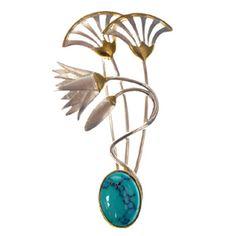 Blue Lotus Flower Brooch