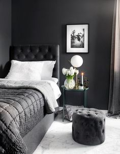 Graphite Grey Wall Bedroom (almost black) Black and white minimalist decor white flowers, luxury interior single bedroom decor chic classy room contemporary modern decor white marble floor Black Bedroom Decor, Black Bedroom Design, Gray Bedroom Walls, Bedroom Themes, Grey Walls, Bedroom Sets, Home Decor Bedroom, Black Decor, Bedrooms