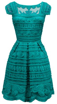 Such a pretty dress. Teal & frilly