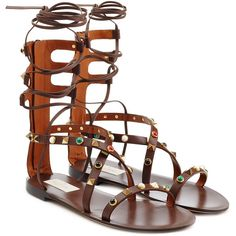 Valentino Rolling Rockstud Embellished Leather Sandals ($1,042) ❤ liked on Polyvore featuring shoes, sandals, flats, brown, brown flat shoes, brown leather shoes, flat sandals, flat shoes and flat pumps