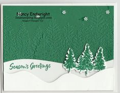 Christmas Tree Cards, Christmas Cards, Christmas Ideas, Wood Dice, Evergreen Forest, Winter Cards, Card Making Inspiration, Stamping Up, Embossing Folder