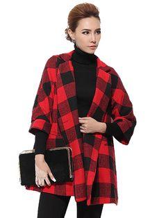 Wide Turn Down Collar Woolen Woman Plaid Coat