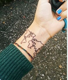 My best friend wants this tattoo. She loves traveling and she plans on adding a little dot to represent every place she's been to. I love the idea!