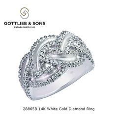 Dare to be different with this 14K White Gold Diamond ring.  This fascinating ring features shared prong set round #diamonds set in a braided design featuring interwoven open channels. Visit your local #GottliebandSons retailer and ask for style number 28865B. http://www.gottlieb-sons.com/product/detail/28865B