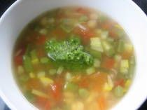 Summer Vegetable Pesto soup - this looks great. (and healthy)