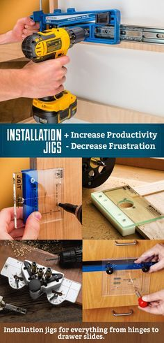 Find installation jigs for all your cabinet needs. From hinges, to drawer slides and knobs / pulls. Take the setup frustration out of your project and increase speed as well as accuracy.