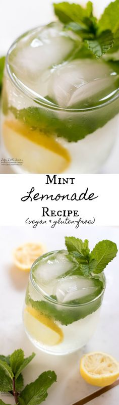 Mint Lemonade is a refreshing, sweet drink recipe to cool your Summer days. (gluten-free, vegan) www.lifeslittlesweets.com