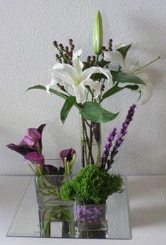 Lily, Mini Calla, Hypericum Berry 3 tiered centepriece