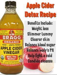 Drink once daily for all the added benefits of weight loss, slimmer tummy, balance body's bloods sugar and PH. Apple Cider Detox Recipe, Apple Detox, Apple Cider Vinegar Detox, Sugar Detox Cleanse, Candida Cleanse, Carb Detox, Diet Detox, Sugar Detox Recipes, Bad Carbohydrates