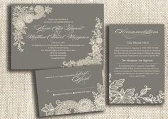 Vintage Lace / DIY Print at Home Wedding Invitation Suite