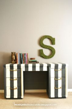 Vintage black & white striped desk.