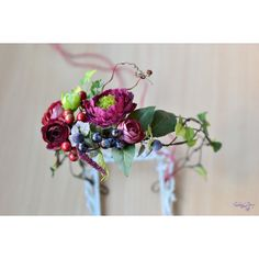 Vualia ($41) ❤ liked on Polyvore featuring berry garland, bridal crown, flower crown, crown hair accessories and flower garland