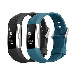 Fitbit Charge 2 Band Hanlesi TPU Soft Silicone Adjustable Replacement Sport Strap Band for Fitbit Charge 2 Smartwatch Heart Rate Fitness Wristband BlackBlue 51Inch69Inch *** You can get more details by clicking on the image.