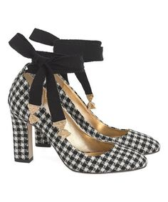 d088e6d99d79 Look at this Ivory   Black Houndstooth Ankle-Tie Bell Wool Pump - Women