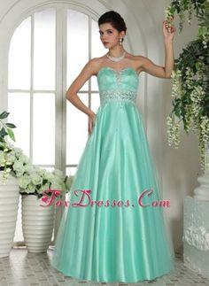 Custom Made Apple Green Sweetheart Beading Prom Evening Dress
