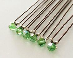 Set of Six, Single Bead, Green Crystal Hair Pins. Ear Cuff Tutorial, Handmade Jewelry, Unique Jewelry, Green Hair, Up Styles, Prom Hair, Hair Pins, Hair Accessories, Beads