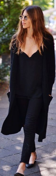 Black flats, cardigan, camisole and skinneys in the city