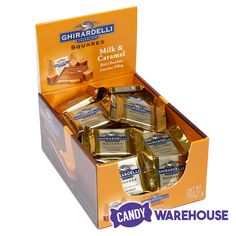 A holiday classic — Ghirardelli Milk Chocolate Squares with Caramel Filling 🍫 Chocolate Squares, Chocolate Ice Cream, Wholesale Candy, Gold Candy, Types Of Candy, New Inventions, Carton Box, Candy Store, Snack Recipes