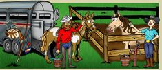Colorado horse friendly, stables and corrals illustration