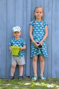 Lovely kids! shirt and dress made with the wales fabric.