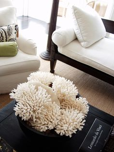 love the white coral! I have these everywhere.... but these look particularly lovely against the dark wood table...