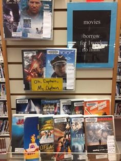 Oh Captian, My Captain movie display at the Plainville Public Library, MA