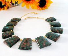 Green Jasper Slab Necklace Trapezoid Necklace Green by BijiJewelry