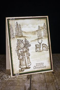 "Father Christmas Stamp Set, Nature Sings Stamp Set, Very Vanilla Thick Cardstock, Very Vanilla Cardstock, Garden Green Cardstock, Cherry Cobbler Cardstock, Soft Suede Classic Stampin' Pad, Blender Pens, Stamping Sponges, Sponge Daubers, Dazzling Diamonds Stampin' Glitter, Big Shot, Layering Ovals Framelits Dies, Gift Bag Punch Board, Very Vanilla ½"" Lace Trim, Tear & Tape Adhesive, Fine-Tip Glue Pen, Fast Fuse, Stampin' Up!, #rickadkins, #rckinsmonstudio, OSAT Very Vintage Blog Hop…"